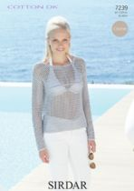 Sirdar Cotton DK Crochet Pattern - 7239 Long Sleeved Top